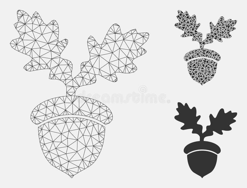 Vector Mesh Network Model de la bellota del roble e icono del mosaico del triángulo stock de ilustración