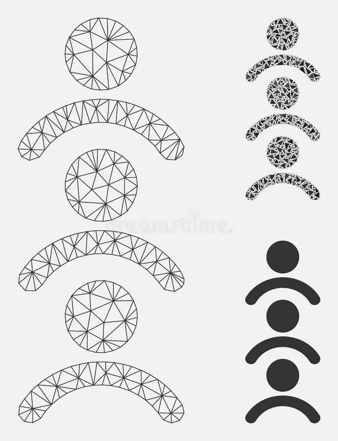 Vector Mesh Network Model de la cola del hombre e icono del mosaico del triángulo ilustración del vector