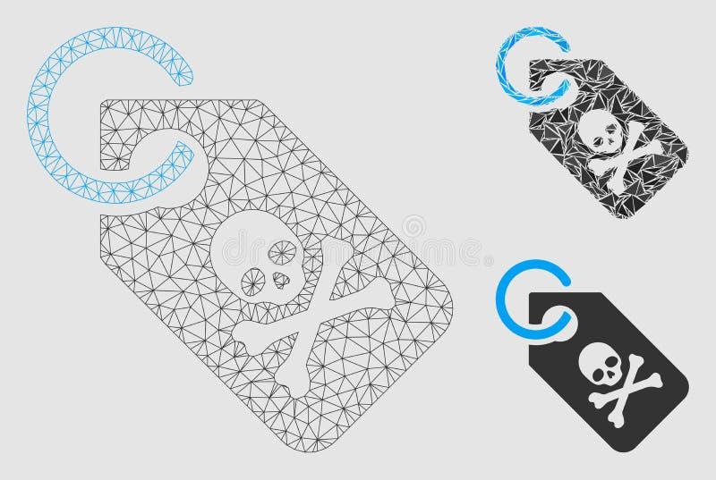 Vector Mesh Network Model de la etiqueta de la muerte e icono del mosaico del triángulo libre illustration