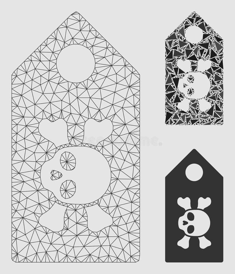 Vector Mesh Network Model de la etiqueta de la muerte e icono del mosaico del triángulo ilustración del vector