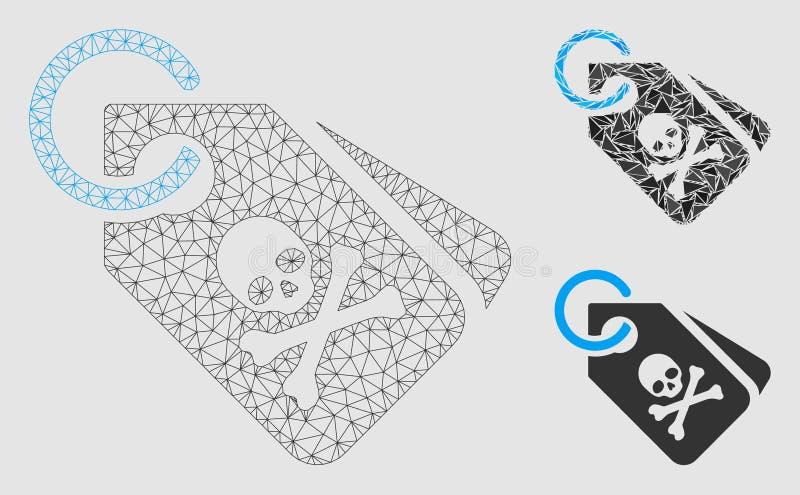 Vector Mesh Network Model de las etiquetas de la muerte e icono del mosaico del triángulo stock de ilustración
