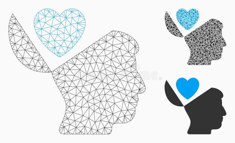 Vector Mesh Network Model del corazón del amor de la mente abierta e icono del mosaico del triángulo ilustración del vector