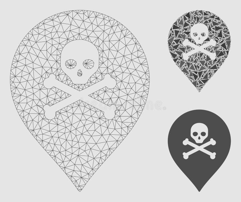 Vector Mesh Network Model del marcador del mapa de la muerte e icono del mosaico del triángulo libre illustration