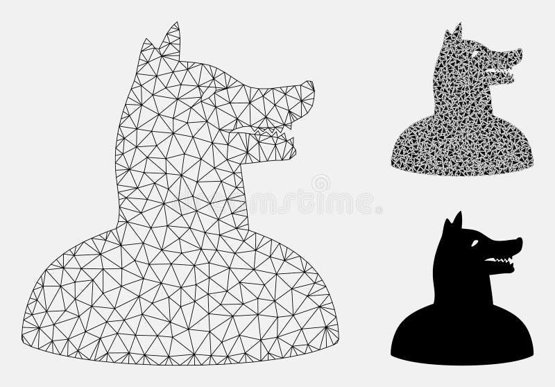 Vector Mesh Network Model del perro del hombre e icono del mosaico del triángulo libre illustration
