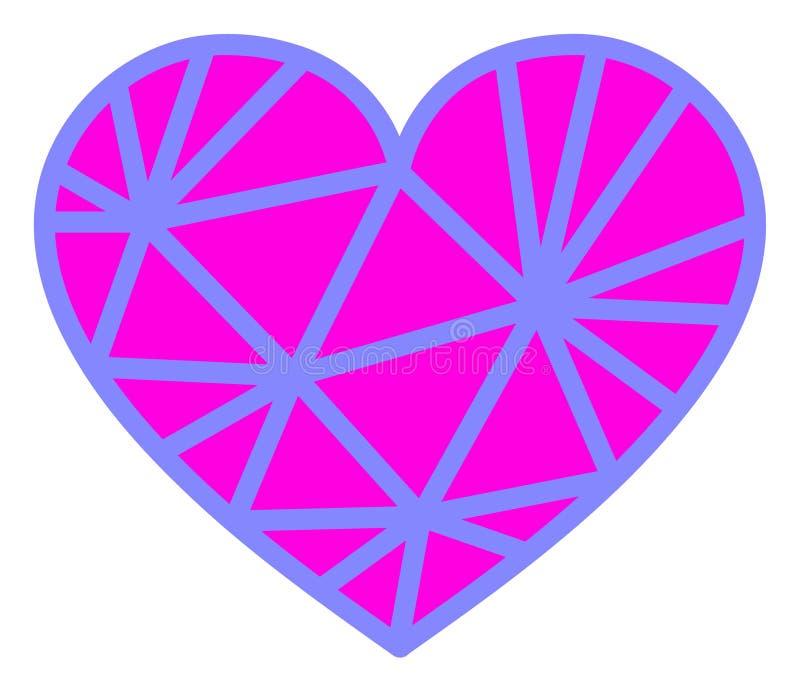Vector Mesh Pink Heart Icon en el fondo blanco stock de ilustración