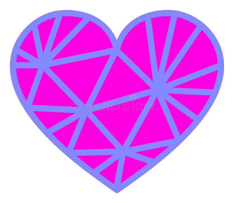 Vector Mesh Pink Heart Icon on White Background. Mesh pink heart vector pictograph. Illustration contains flat mesh pink heart iconic symbol isolated on a white stock illustration