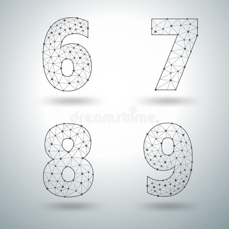 Free Vector Mesh Stylish Alphabet Letters Numbers 6 7 8 9 Royalty Free Stock Photography - 58835837