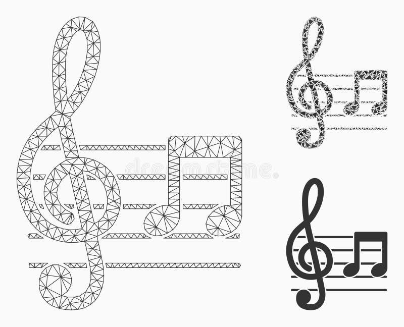 Vector Mesh Wire Frame Model de la notación musical e icono del mosaico del triángulo stock de ilustración