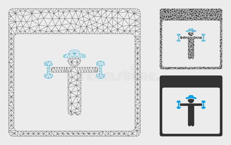 Vector Mesh Wire Frame Model de la página del calendario de la aptitud del caballero e icono del mosaico del triángulo ilustración del vector