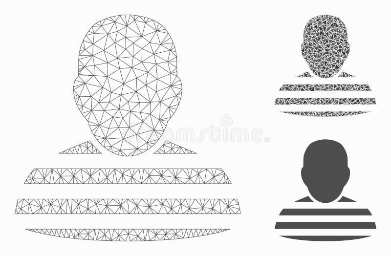 Vector Mesh Wire Frame Model de la persona del preso e icono del mosaico del triángulo ilustración del vector