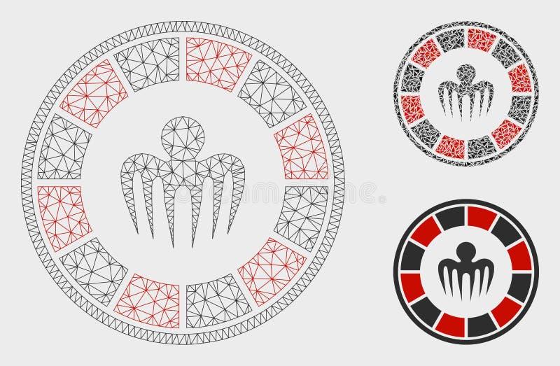 Vector Mesh Wire Frame Model del casino del espectro e icono del mosaico del triángulo libre illustration