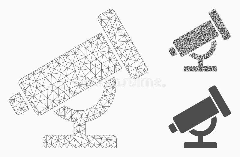 Vector Mesh Wire Frame Model del telescopio e icono del mosaico del triángulo ilustración del vector