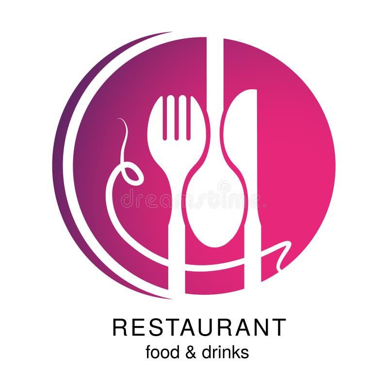 Vector Messer, Gabel, Löffel mit Spaghettis Kreissymbol für ein Restaurantmenü, das ein lächelndes menschliches Gesicht, smiley m vektor abbildung