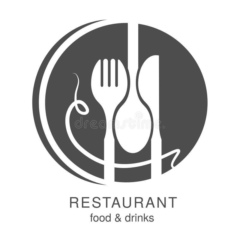 Vector Messer, Gabel, Löffel mit Spaghettis Kreissymbol für ein Restaurantmenü, das ein lächelndes menschliches Gesicht, smiley m stock abbildung