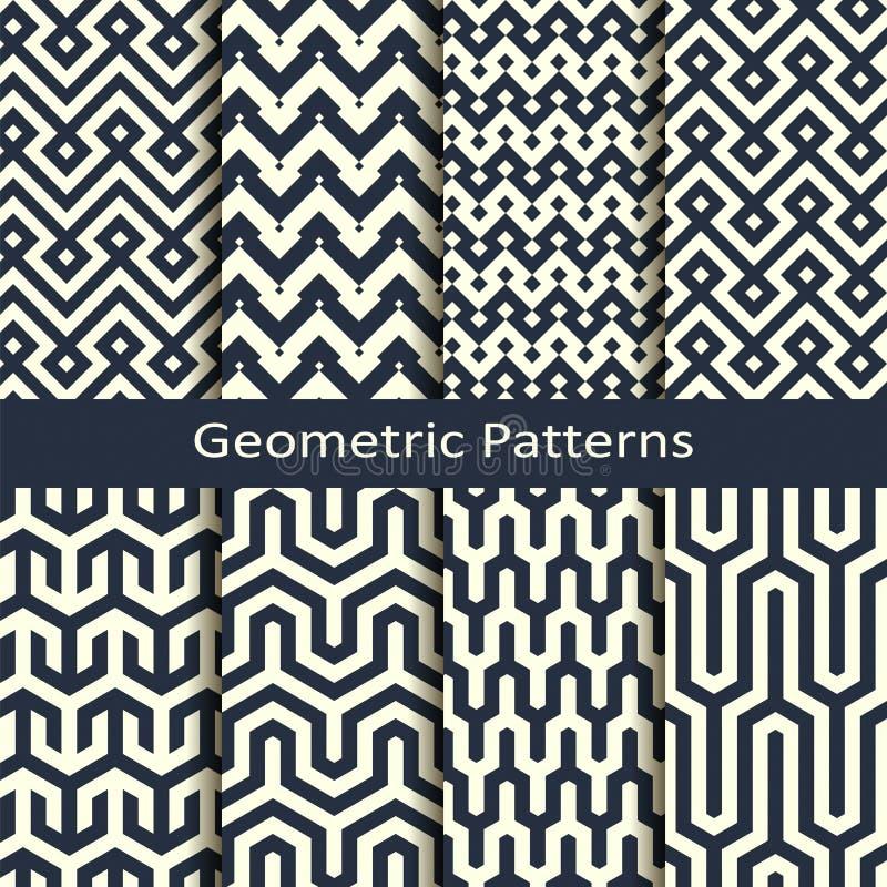 Vector met acht naadloze geometrische patronen wordt geplaatst dat ontwerp voor dekking, binnenlands verpakken, stock illustratie