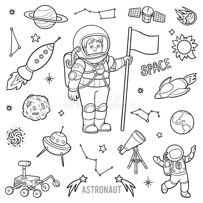 Vector met astronaut en ruimtevoorwerpen wordt geplaatst dat stock illustratie