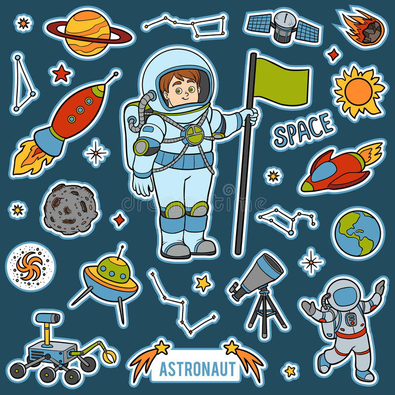 Vector met astronaut en ruimtevoorwerpen wordt geplaatst dat Beeldverhaalpunten stock illustratie
