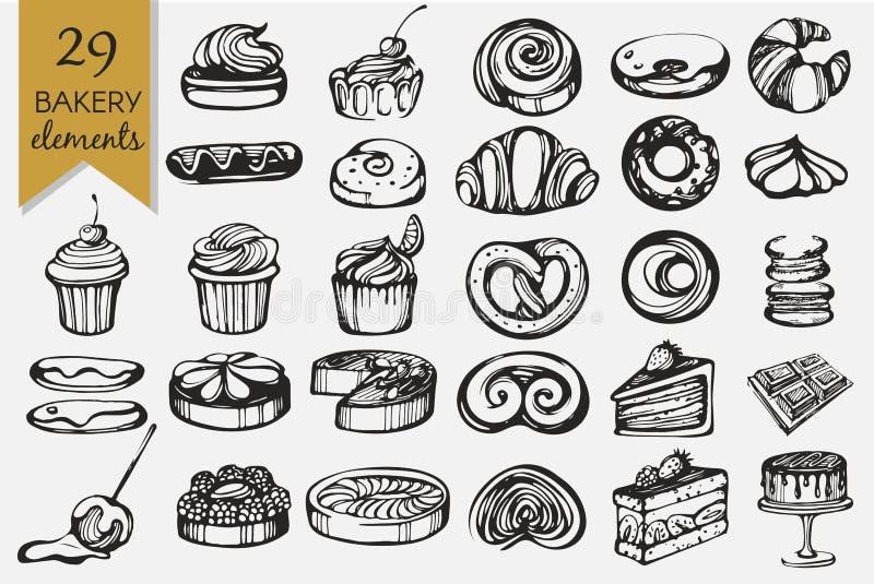 Vector met bakkerijproducten dat wordt geplaatst stock fotografie