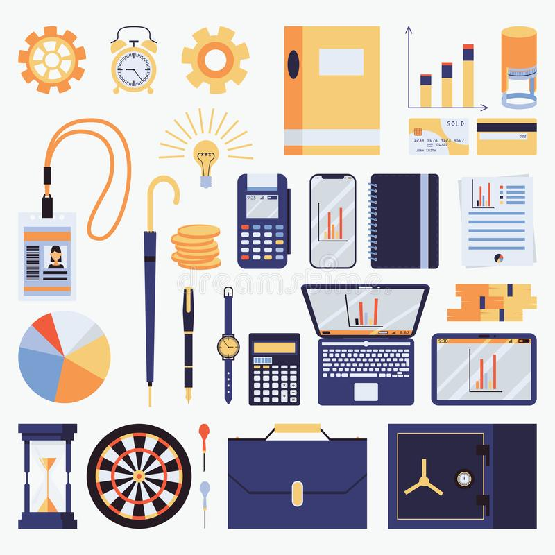Vector met bedrijfsvoorwerpen wordt geplaatst dat Vectorillustratie met bureaukantoorbehoeften, kenteken, notitieboekje, infograp stock illustratie