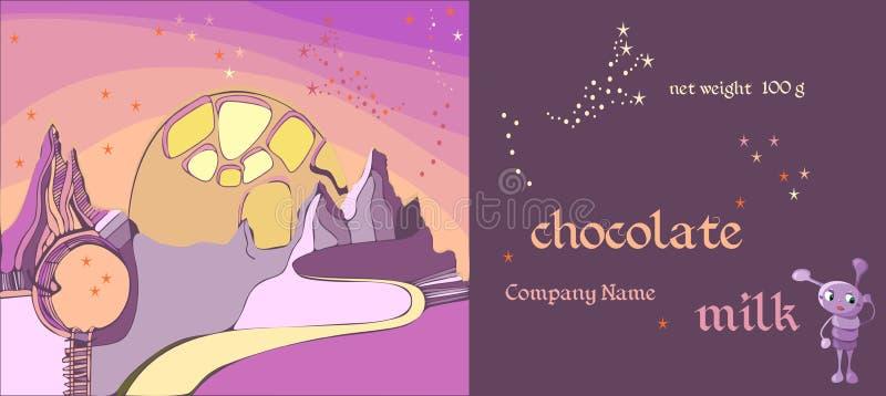 Vector met de hand gemaakt chocolade verpakkingsontwerp voor kinderen Malplaatje met fantastisch vreemd landschap stock illustratie
