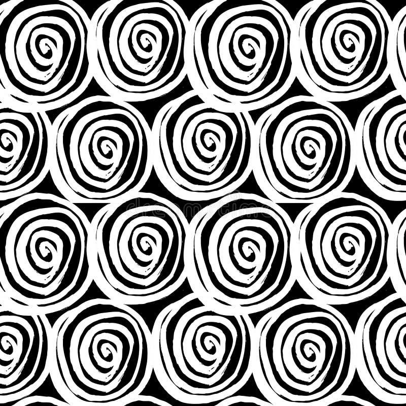 Vector met de hand geschilderd naadloos patroon met inktcirkels vector illustratie