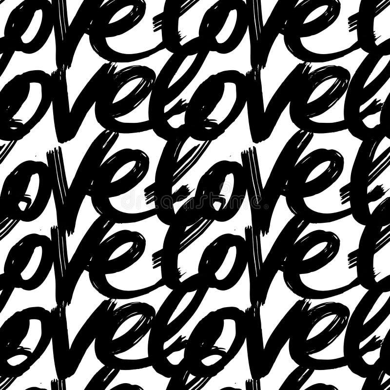 Vector met de hand geschilderd naadloos patroon met inktliefde het van letters voorzien abstracte achtergrond vector illustratie