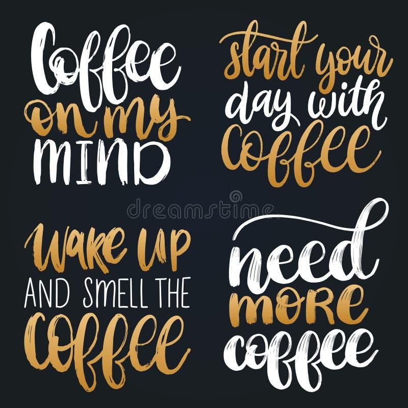 Vector met de hand geschreven geplaatste koffieuitdrukkingen Citatentypografie Kalligrafieillustraties voor restaurantaffiche, ko vector illustratie