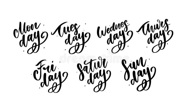 Vector met de hand geschreven geplaatste weekdagen en symbolen Inktdoopvont Stickers voor ontwerper en andere clipart Ge?soleerde vector illustratie