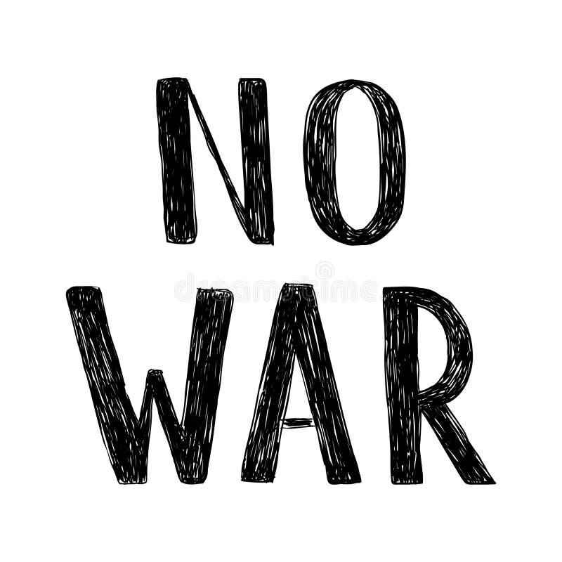 Vector met de hand geschreven inschrijving Geen oorlog Hand het getrokken borstelpen van letters voorzien royalty-vrije illustratie
