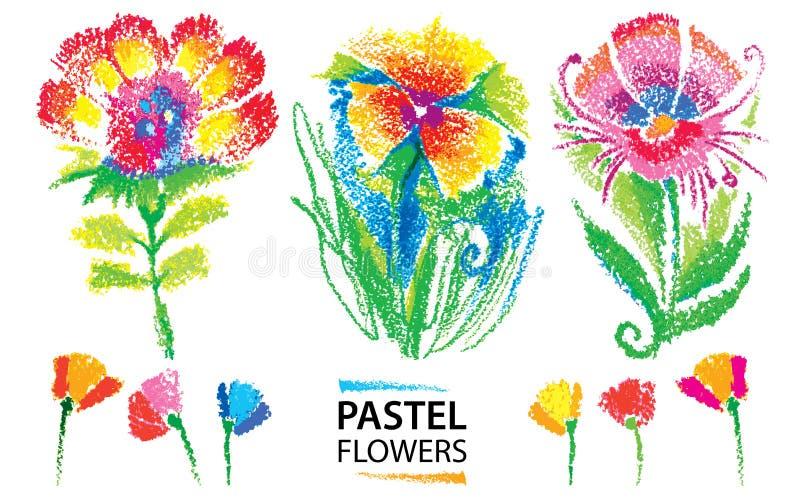 Vector met de kinderlijke gestileerde die bloemen wordt van de oliepastelkleur op witte achtergrond worden geïsoleerd geplaatst d vector illustratie