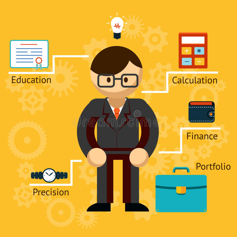 Vector met informatie over een zakenman stock illustratie