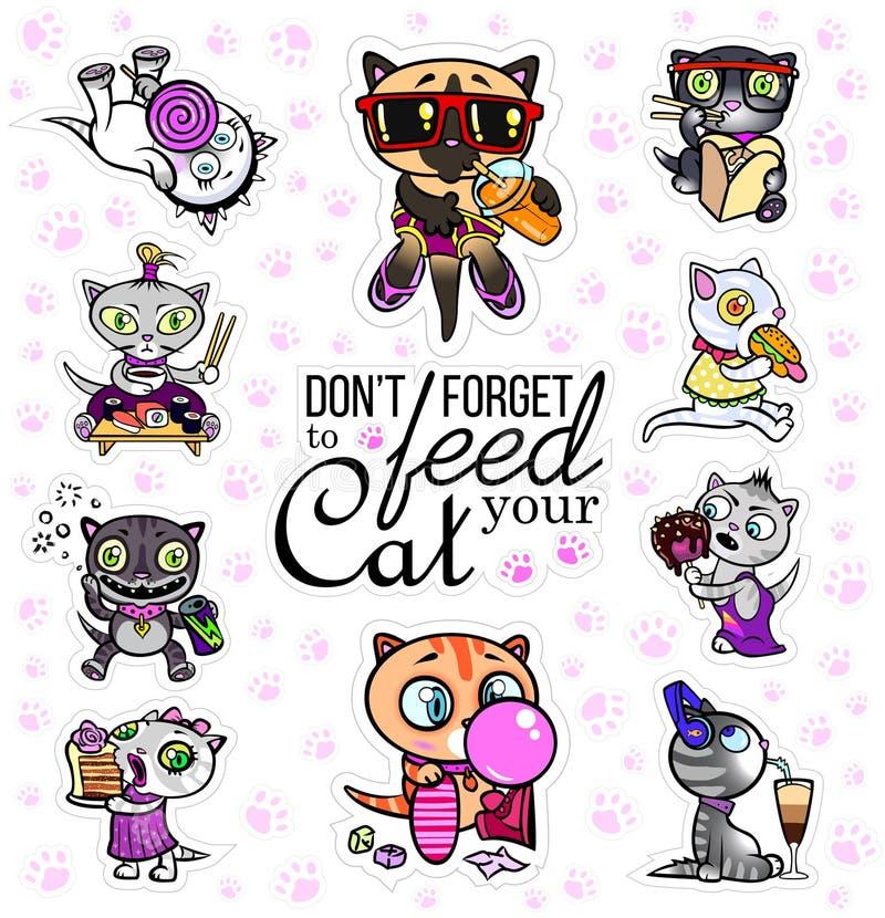 Vector met kattenstickers die wordt geplaatst Hongerige huisdieren Emoji voor praatjes stock illustratie