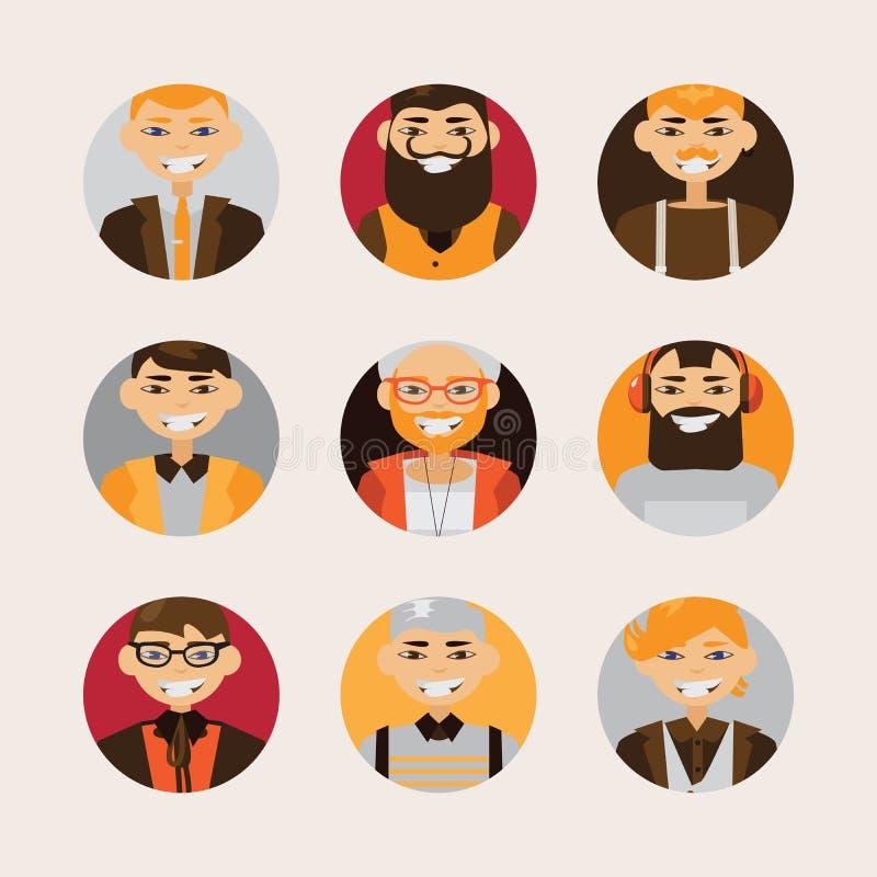 Vector met mannelijke hipsteravatars wordt geplaatst die en op bij toeschouwer glimlachen letten die Heldere karakters met divers royalty-vrije illustratie