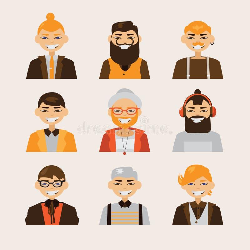 Vector met mannelijke hipsteravatars wordt geplaatst die en op bij toeschouwer glimlachen letten die Heldere karakters met divers stock illustratie