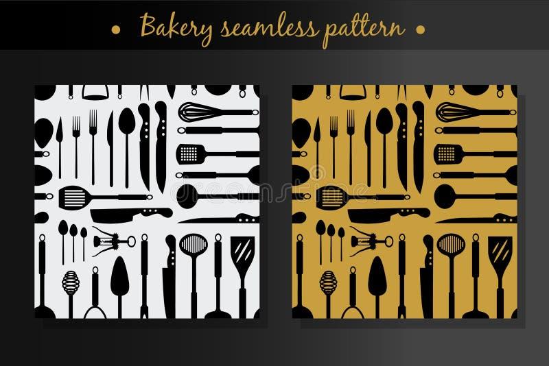 Vector met naadloos patroon twee voor het koken wordt geplaatst die royalty-vrije stock fotografie