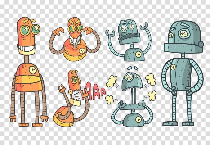 Vector met robots in overzichtsstijl wordt geplaatst met kleurrijke vulling die Grijze en oranje mechanische androids met verschi royalty-vrije illustratie