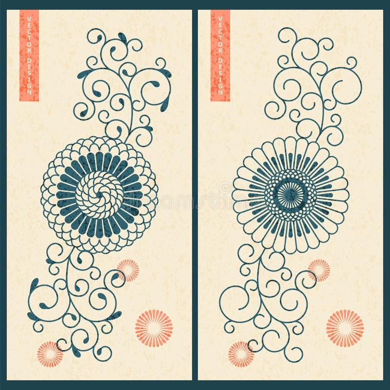 Vector met twee kaarten met oostelijk bloemenornament wordt geplaatst dat ontwerp voor zaken, druk, gift stock illustratie