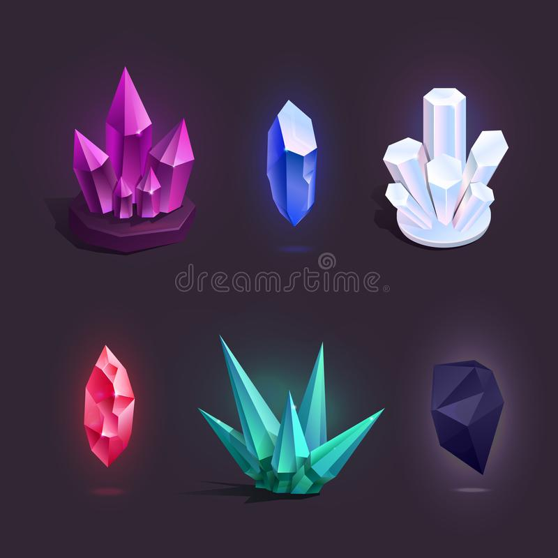 Vector met verschillende kleurrijke beeldverhaalkristallen dat wordt geplaatst royalty-vrije illustratie