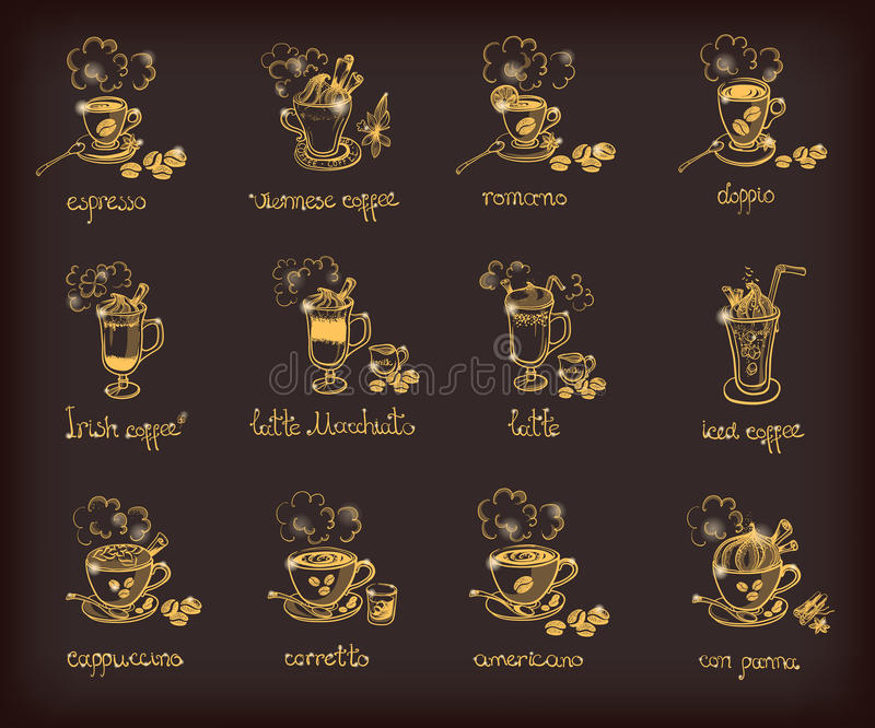 Vector met verschillende types van koffie wordt geplaatst die stock illustratie