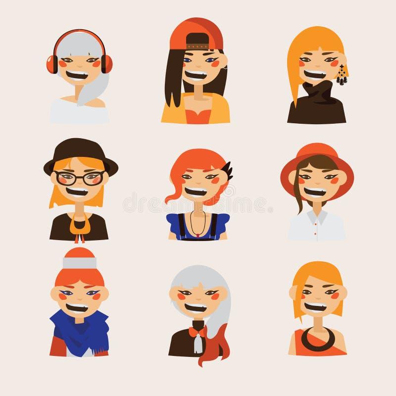 Vector met vrouwelijke hipsteravatars wordt geplaatst die en op bij toeschouwer glimlachen letten die Heldere karakters met diver royalty-vrije illustratie