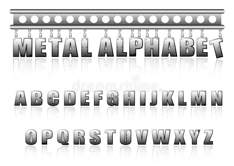 Download Vector Metal Alphabet With Bolts And Scratches Stock Vector - Image: 16380931