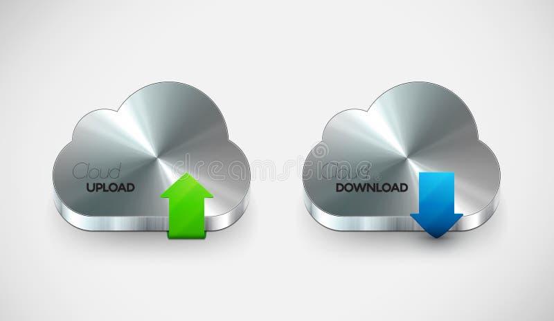 Vector Metal Cloud Icon Set Stock Photo