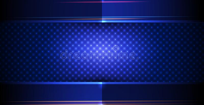 Vector metal frame with geometric pattern design. Illustration metallic silver, gold, gradient color and dark blue-black, premium stock illustration