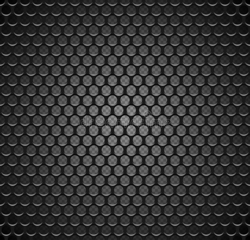 Vector metal grid seamless pattern on transparent background. Black iron speaker grill endless texture. Web page fill. Vector metal grid seamless pattern on royalty free illustration