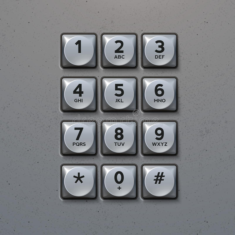 Vector Metal Keypad. Phone keypad buttons template royalty free illustration