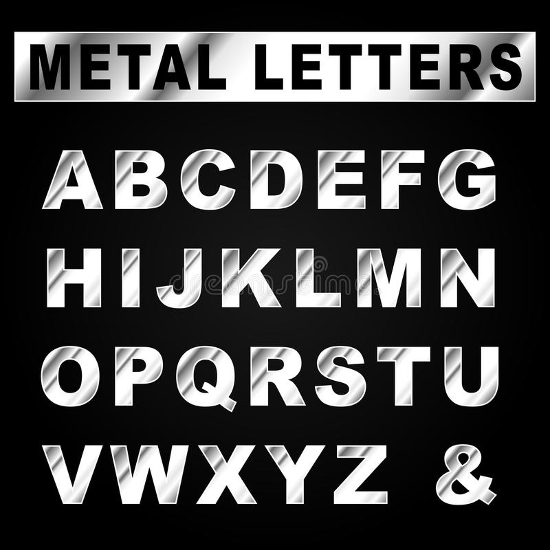 Gray Alphabet Font: Vector Metal Set Letters Stock Vector