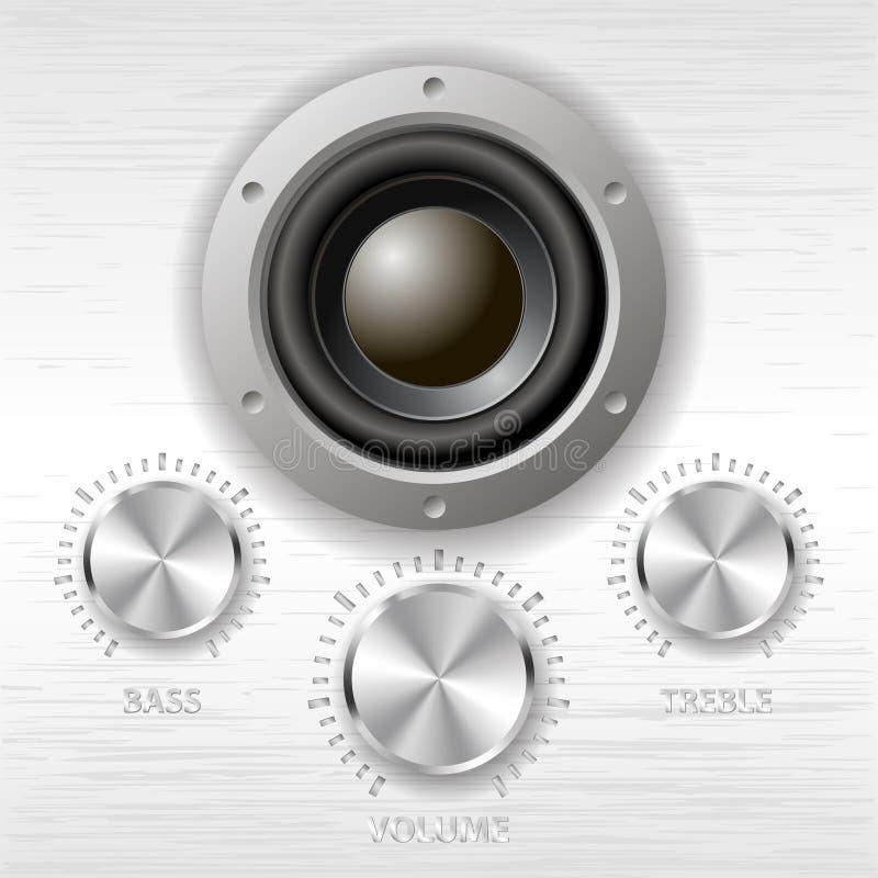 Vector metal volume treble bass knobs and speaker vector illustration