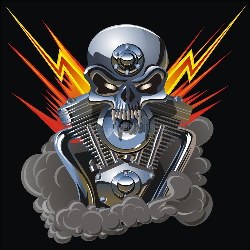 Free Vector Metall Skull With Engine Royalty Free Stock Image - 5576566