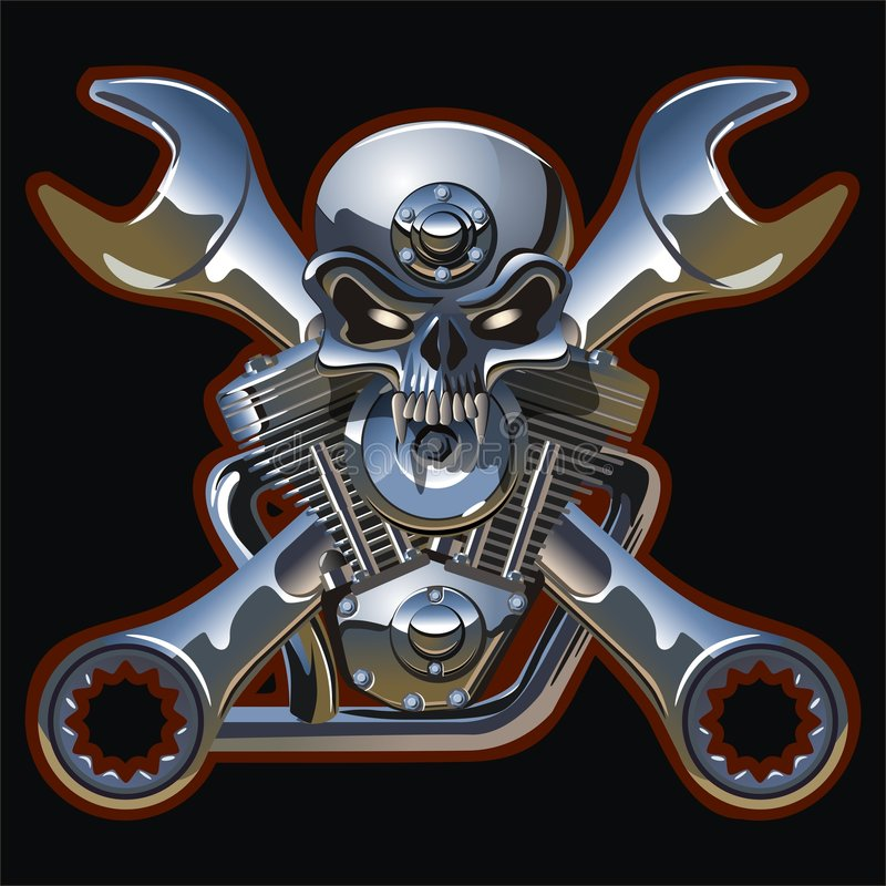 Free Vector Metall Skull With Engine Royalty Free Stock Image - 5674066