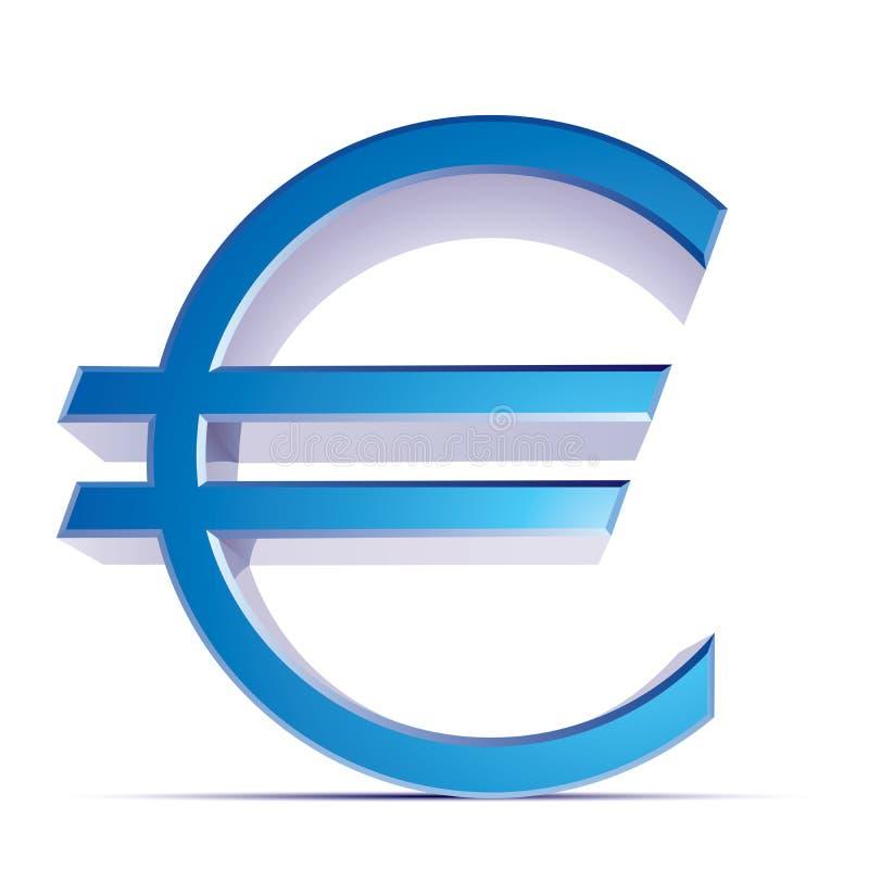Vector metallic euro sign vector illustration